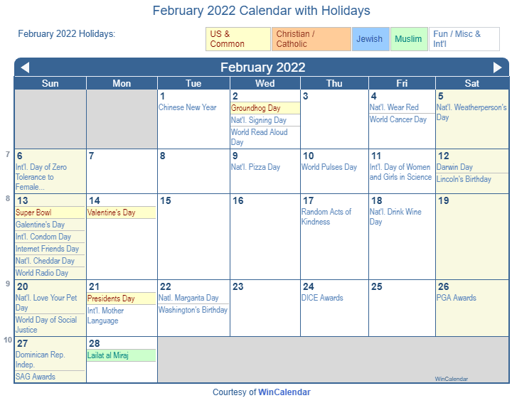 February 2022 Printable Calendar with US Holidays including: Christian, Jewish and Muslim Holidays