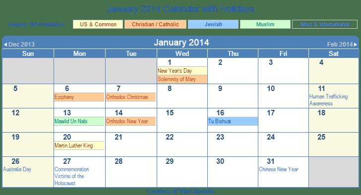 January 2014 Printable Calendar with US, Christian, Jewish, Muslim & Holidays