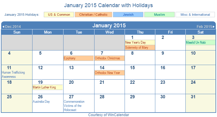 January Calendar 2015 With Holidays : Print friendly january us calendar for printing