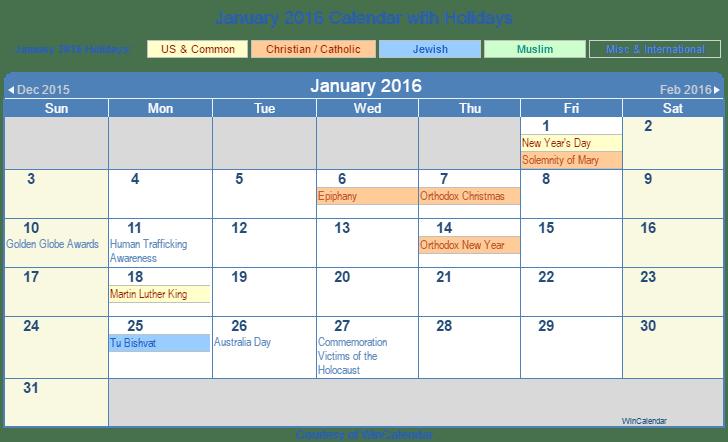 Printable January 2016 Calendar with Holidays - US