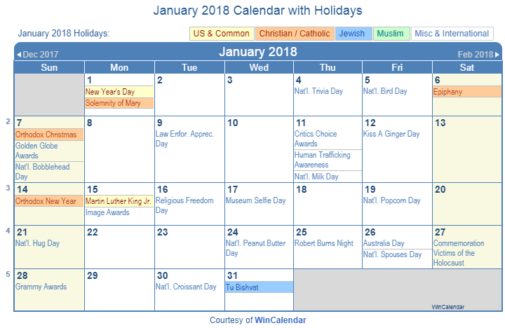 January 2018 Printable Calendar with US, Christian, Jewish, Muslim & Holidays