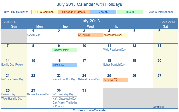 July 2013 Printable Calendar with US, Christian, Jewish, Muslim & Holidays