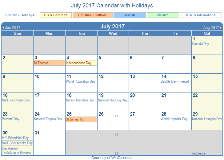 July 2017 Printable Calendar with US Holidays including: Christian, Jewish and Muslim Holidays