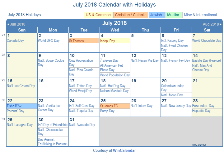 july 2018 printable calendar with us holidays christian jewish and muslim holidays