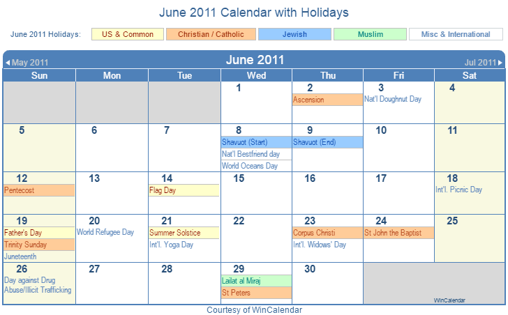 Print Friendly June 2011 Us Calendar For Printing