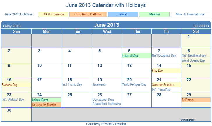 Calendar June 2013 : Print friendly june us calendar for printing
