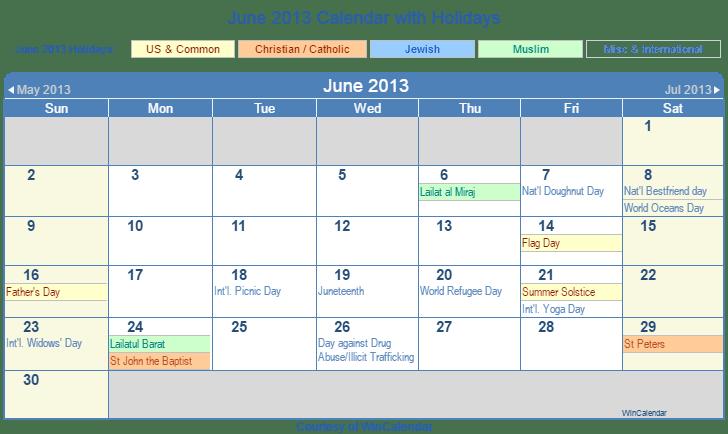 print friendly june 2013 us calendar for printing