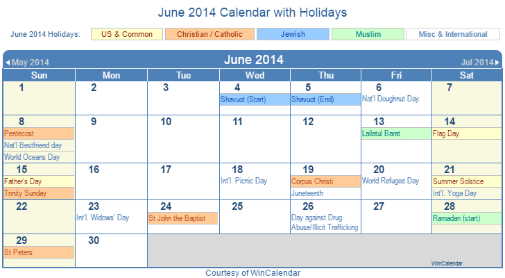 June 2014 Printable Calendar with US, Christian, Jewish, Muslim & Holidays