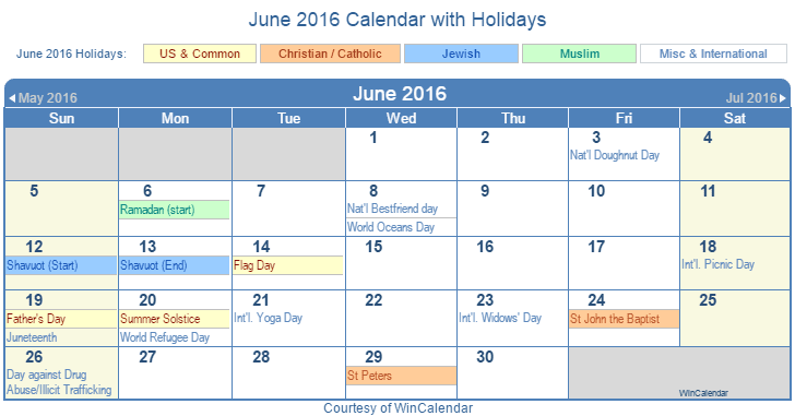 Printable June 2016 Calendar with Holidays - US