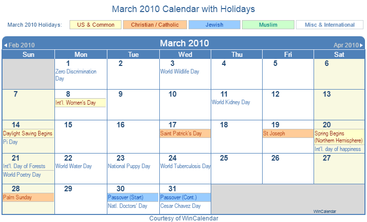 Print Friendly March 2010 US Calendar for printing