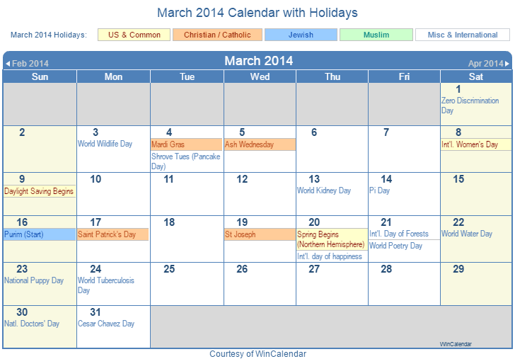March 2014 Printable Calendar with US, Christian, Jewish, Muslim & Holidays