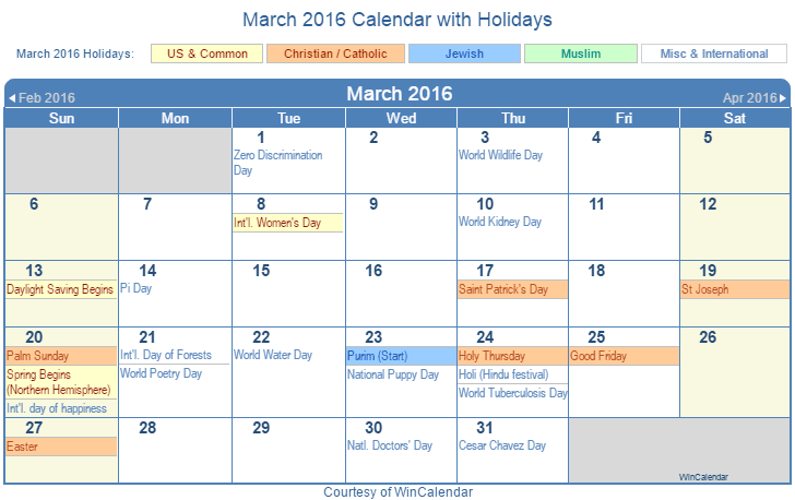 March 2016 Printable Calendar with US, Christian, Jewish, Muslim ...