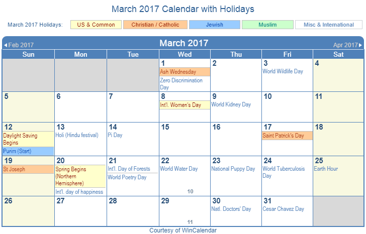 March 2017 Printable Calendar with US Holidays including: Christian, Jewish and Muslim Holidays