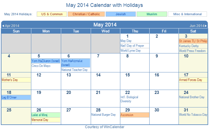 May 2014 Printable Calendar with US, Christian, Jewish, Muslim & Holidays