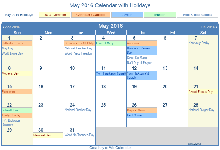 Printable May 2016 Calendar with Holidays - US