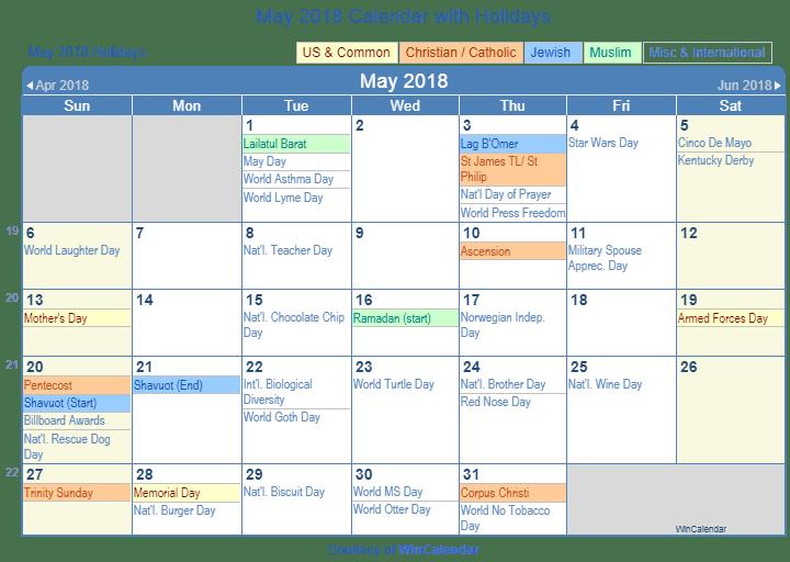 Print Friendly May 2018 Us Calendar For Printing