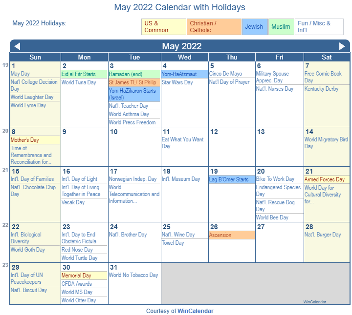 May 2022 Printable Calendar with US Holidays including: Christian, Jewish and Muslim Holidays