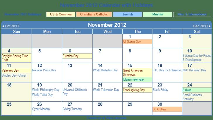 November 2012 Printable Calendar with US, Christian, Jewish, Muslim ...
