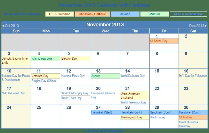 November 2013 Printable Calendar with US, Christian, Jewish, Muslim & Holidays