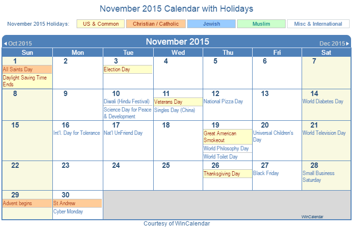 print friendly november 2015 us calendar for printing