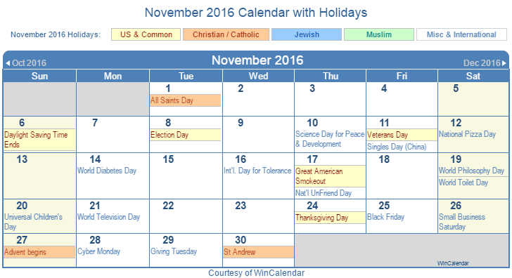 November 2016 Printable Calendar with US, Christian, Jewish, Muslim & Holidays