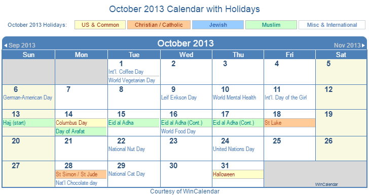 Print Friendly October 2013 US Calendar for printing