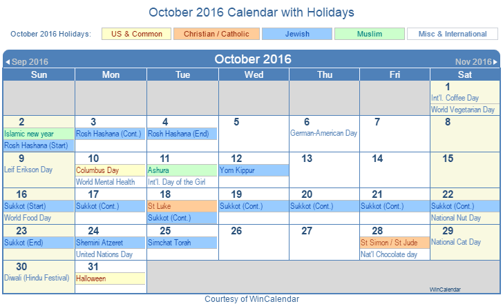 Printable October 2016 Calendar with Holidays - US