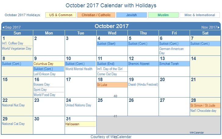 October 2017 Printable Calendar with US, Christian, Jewish, Muslim & Holidays