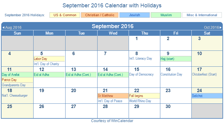 Printable September 2016 Calendar with Holidays - US