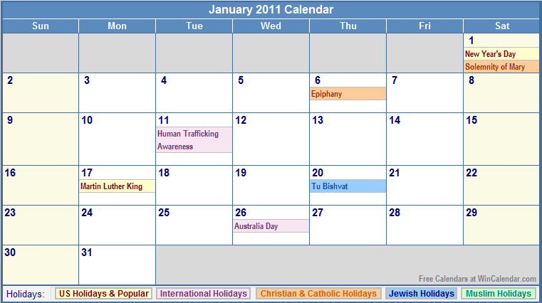 January 2011 Calendar with Holidays