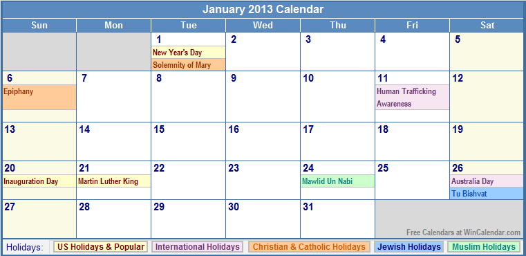 january 2013 clinic january calendar with holidays observances ...
