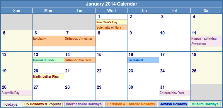 January 2014 Calendar with Holidays Printable