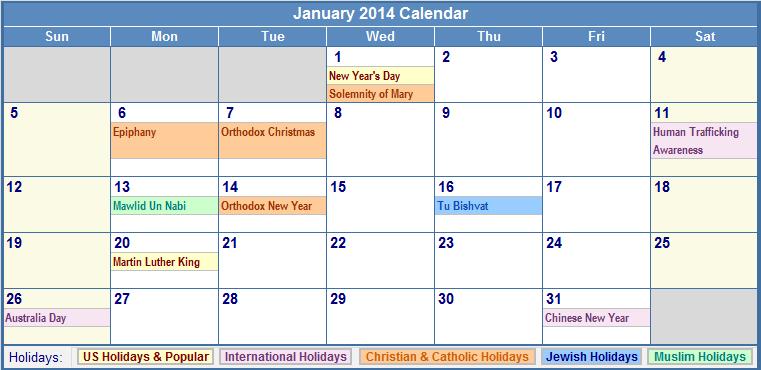 ... 2014 Calendar With Funny Holidays January Blank Calendars For 2014 Any