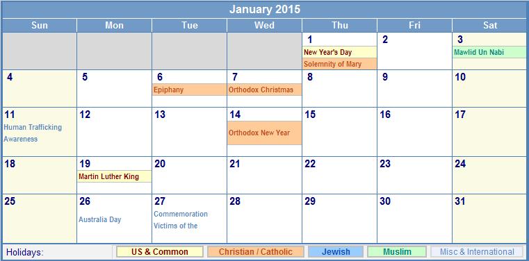 January Calendar 2015 With Holidays : January printable calendar with holidays search
