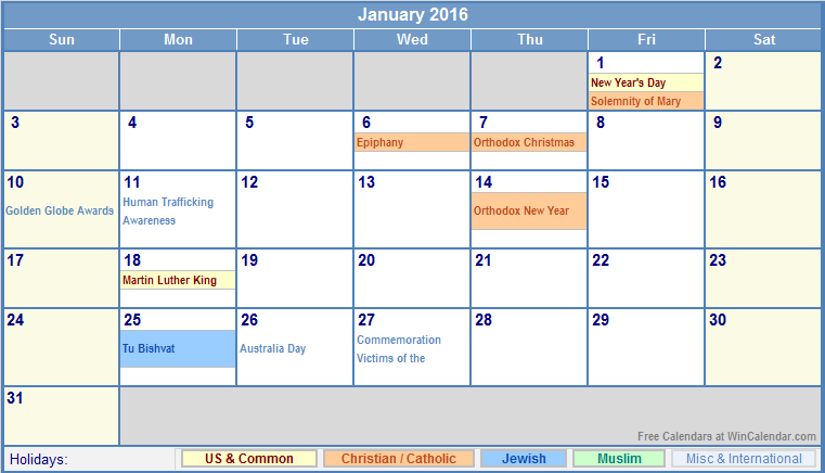January 2016 Calendar with US, Christian, Jewish, Muslim & Holidays