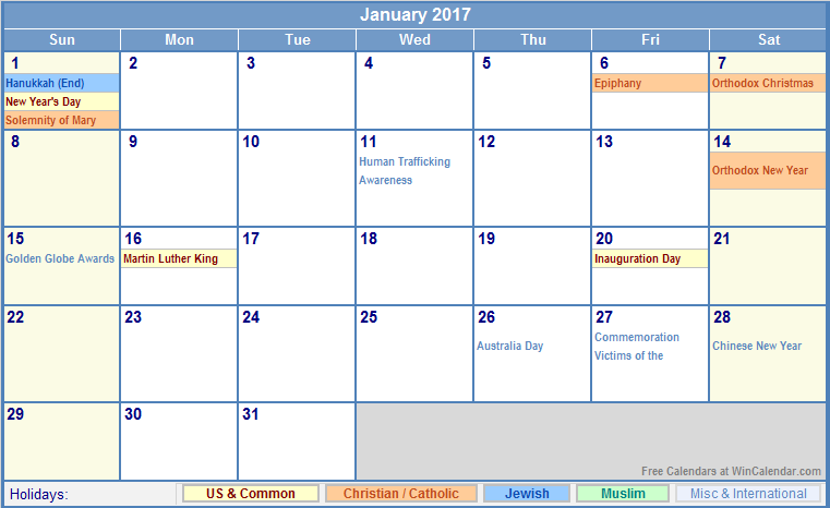January Calendar 2017 With Holidays : January calendar with holidays as picture