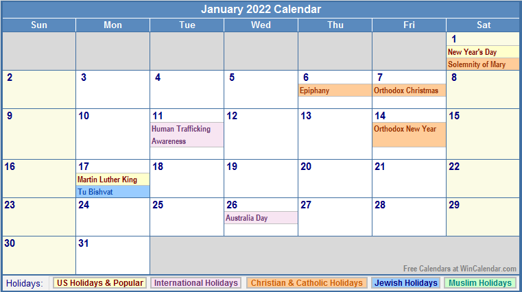 January 2022 Calendar with Holidays - as Picture