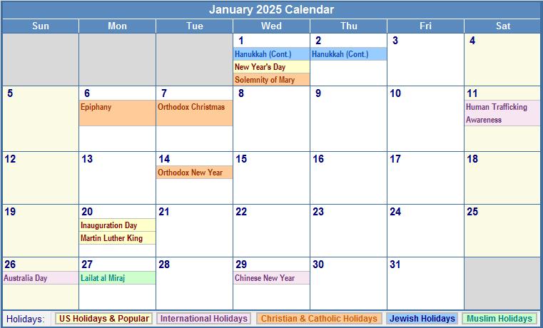 January 2025 Calendar with US, Christian, Jewish, Muslim
