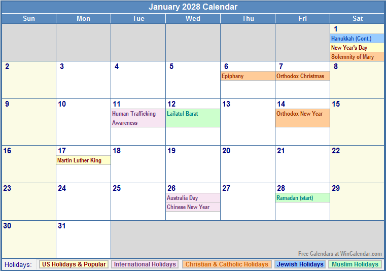 january monthly observances and holidays | just b.CAUSE