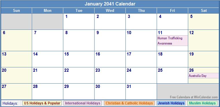 January 2041 Calendar with US, Christian, Jewish, Muslim & Holidays