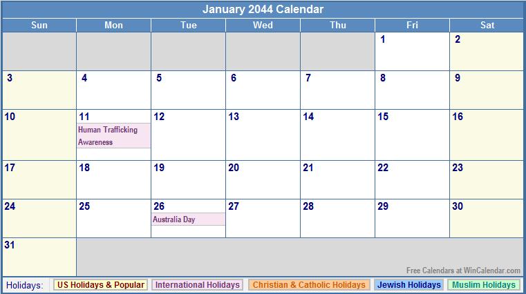 January 2044 Calendar with US, Christian, Jewish, Muslim & Holidays