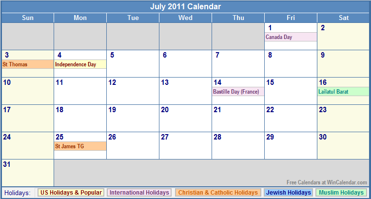 July 2011 Calendar with US, Christian, Jewish, Muslim & Holidays