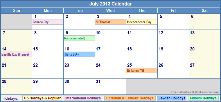 July 2013 calendar with us, christian, jewish, muslim &; holidays