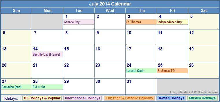 July 2014 Calendar with Holidays Printable