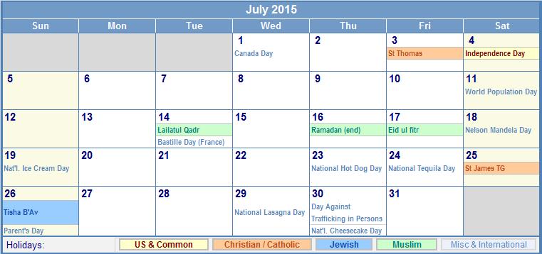 July 2015 Printable Calendar with US, Christian, Jewish, Muslim ...