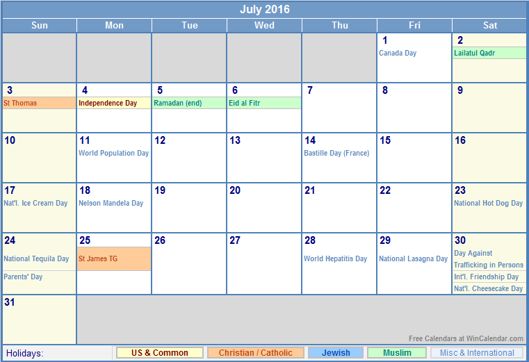June 2016 Calendar — Colors ( July and August)