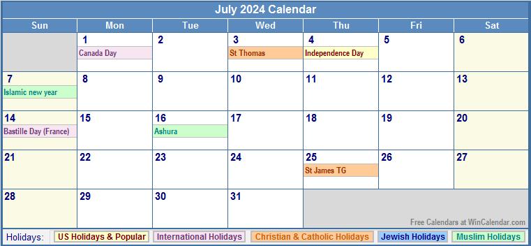 July 2024 Calendar with US, Christian, Jewish, Muslim & Holidays