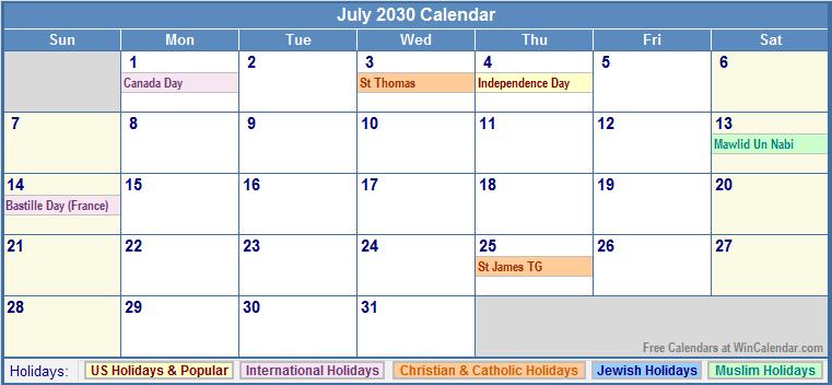 Printable July 2030 Calendar with Holidays.