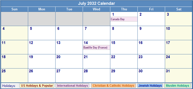 July 2032 Calendar with US, Christian, Jewish, Muslim & Holidays