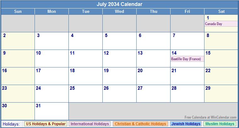 July 2034 Calendar with US, Christian, Jewish, Muslim & Holidays